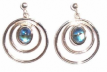 Rainbow Moonstone Earrings Silver Round in Round
